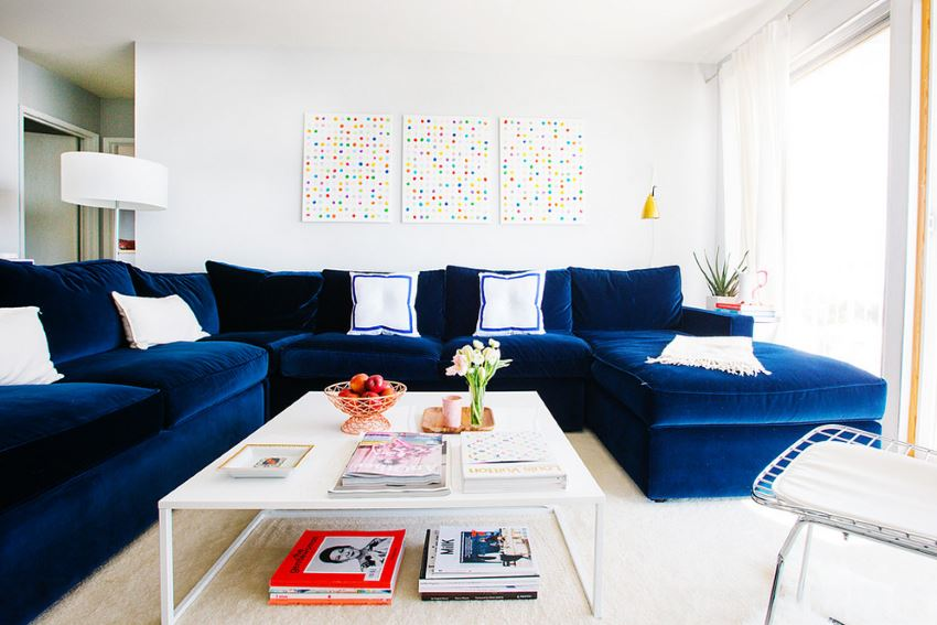 San Francisco apartment with a plush blue sectional