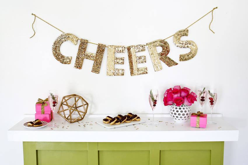 Sequin letter garland from A Beautiful Mess