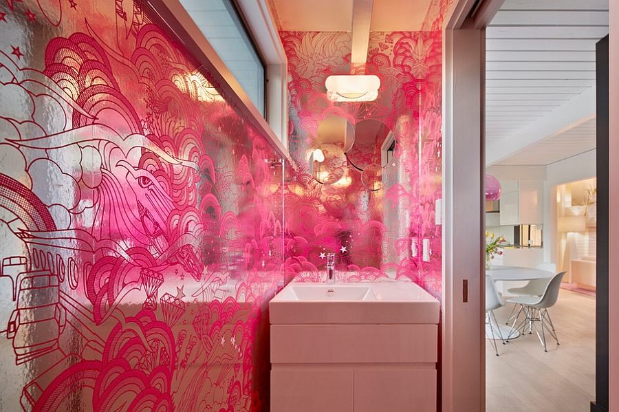 Sizzling wallpaper in fuchsia and silver shapes the Disco Powder room [Design: Flegel's Construction]