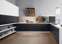 Sleek floating shelves save up on foot room in the kitchen