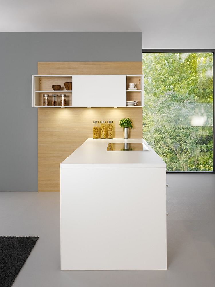 Sliding doors give the top cabinet a unique look