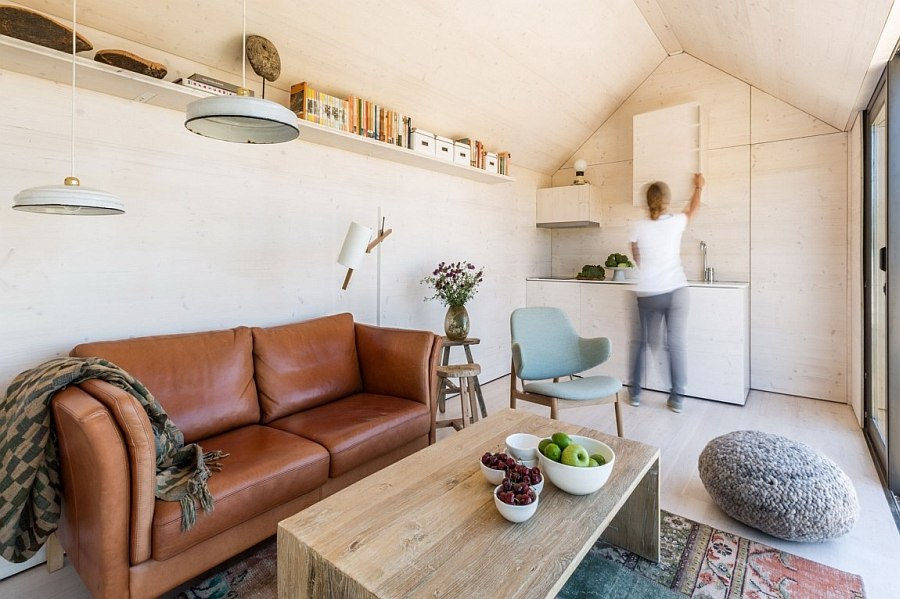 Small kitchen in the corner combined with the living room
