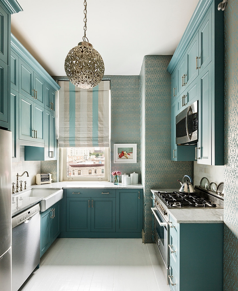Small kitchen uses wallpaper in a beautiful manner [From: Sheila bridges design]