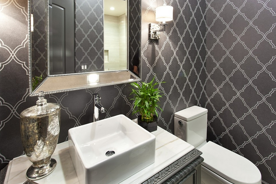 ... Smart Wallpaper Gives The Powder Room A Timeless Look [Design: SP  Design Build]