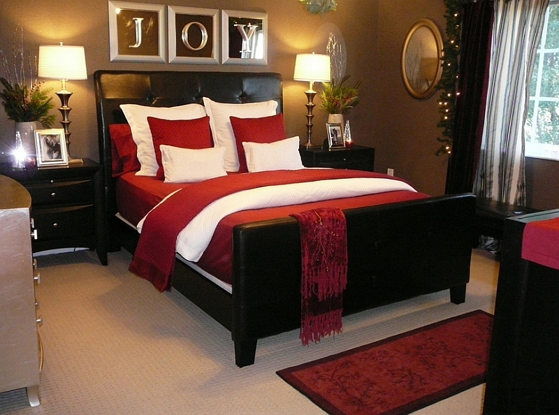 10 christmas bedroom decorating ideas inspirations for Brown and red bedroom decorating ideas
