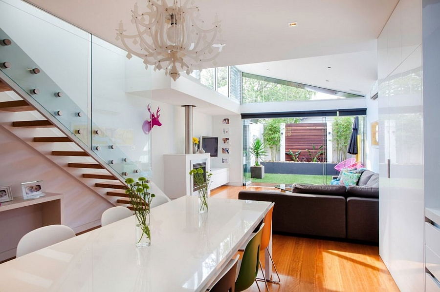 Smart kitchen, dining area and living room of the modern extension