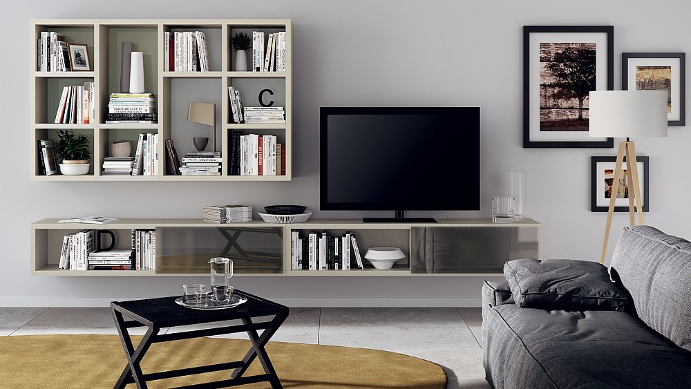 Snazzy living room solution with smart wall elements