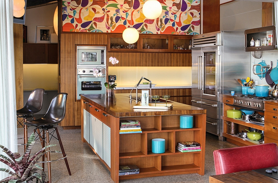 Snazzy wallpaper brings a dynamic blend of colors to the kitchen [Design: Native Son Design Studio]