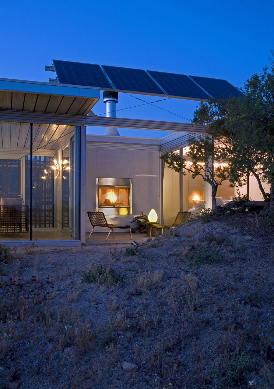 Solar panels provide power to the Off Grid House