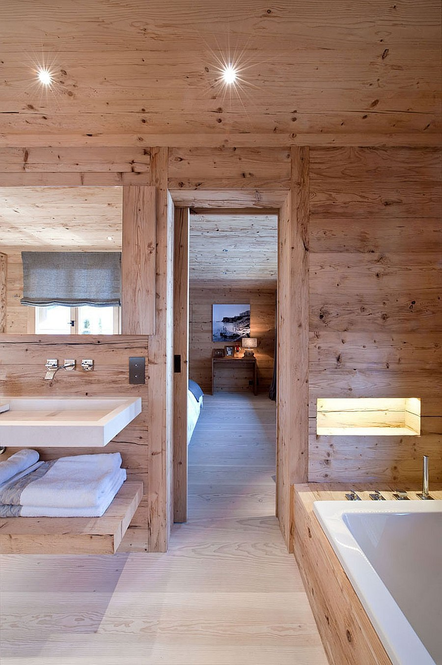 Spa-styled bathroom of the luxurious Swiss chalet