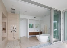 Stacked glass doors for the contemporary bathroom