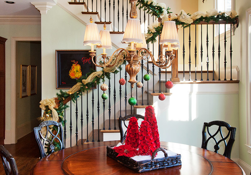 Staircase decorations add to overall ambiance of the home