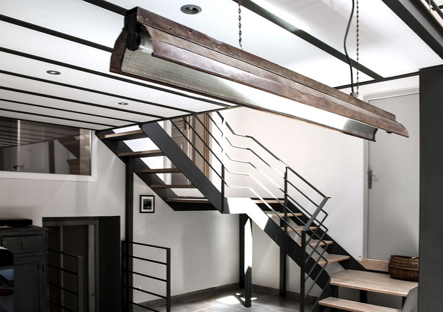 Steel stiarcase connects the various levels of the home