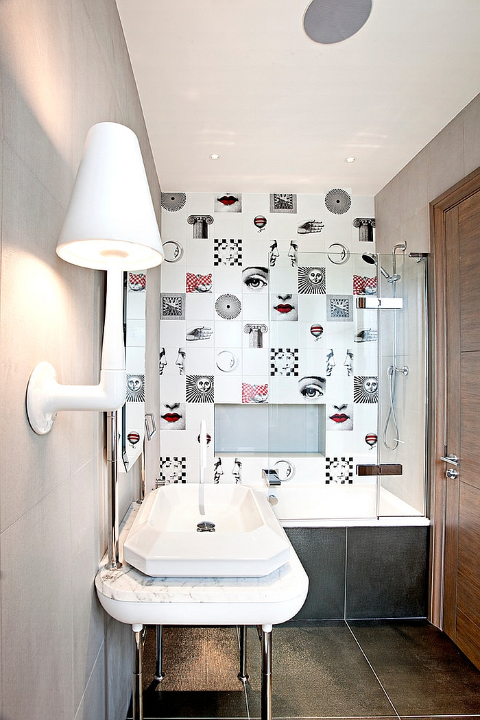 Striking bathroom tiles inspired by Fornasetti designs [From: Roselind Wilson Design]