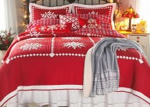 String lights add a touch of festive charm to the bedroom