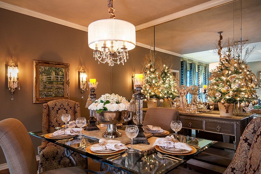 stunning dining room decked out for christmas design saj designs - Dining Room Christmas Decorations