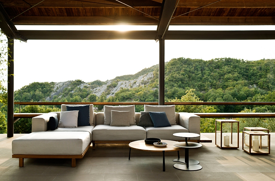 Stunning outdoor lounge witha  view of the distant hills