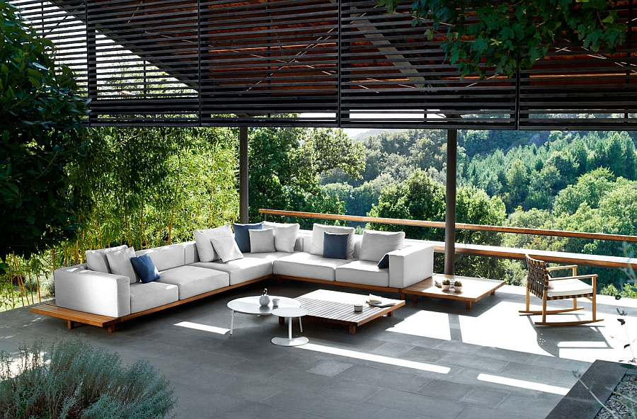 Stylish Vis à vis sofa and outdoor coffee table Trendy Outdoor Decor Blends Minimalism with the Warmth of Teak