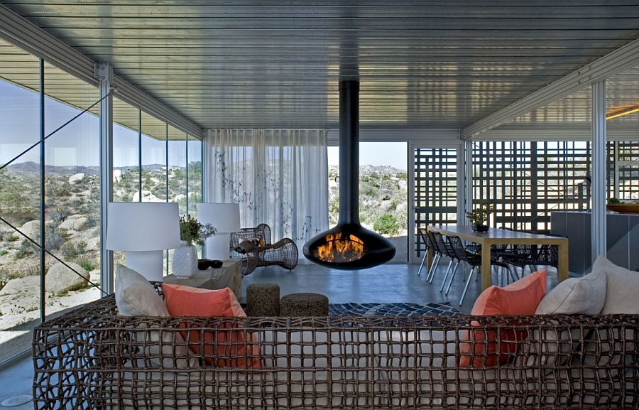 Stylish fireplace at the the heart of the contemporary living room