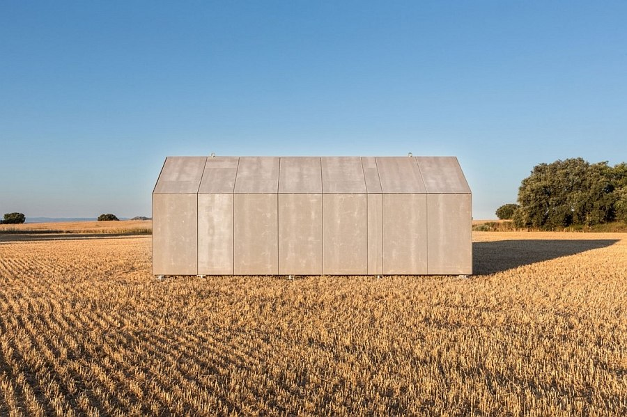 Stylish portable home with a unique grey cement-board exterior