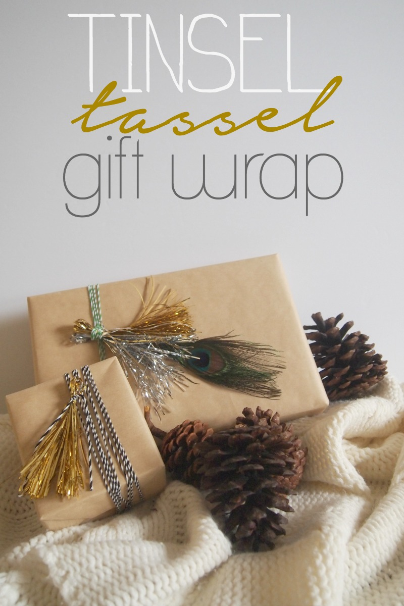 TINSEL TASSEL GIFT WRAP DIY Metallic Tinsel Tassel Gift Wrap