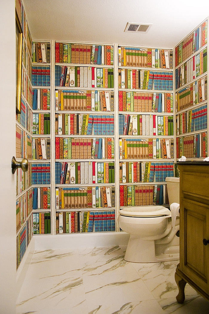 Take the library to the powder room with the striking wallpaper [Design: Angela Gutekunst Interiors]