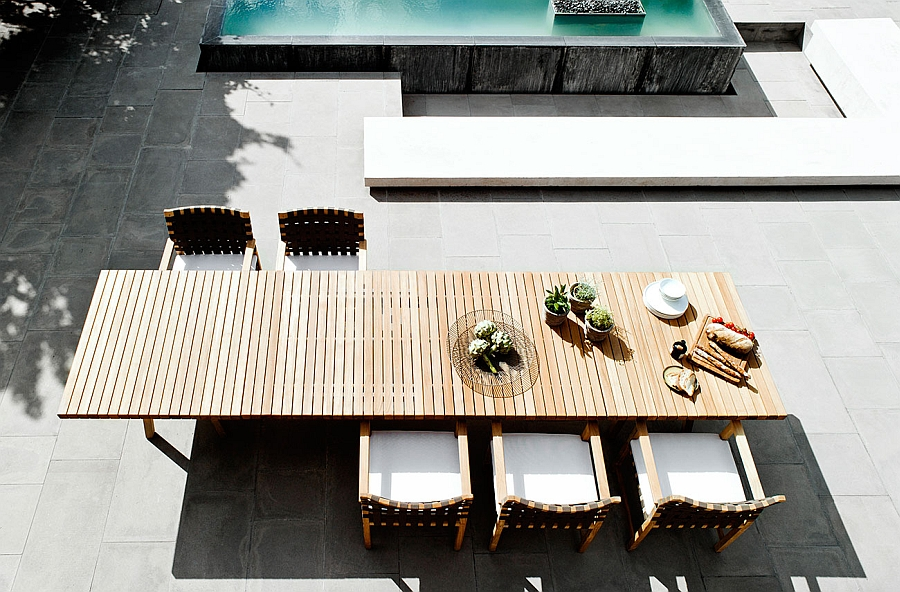 Teak outdoor dining table from Tribu