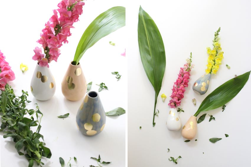 Teardrop vases with gold dots from Baba Souk