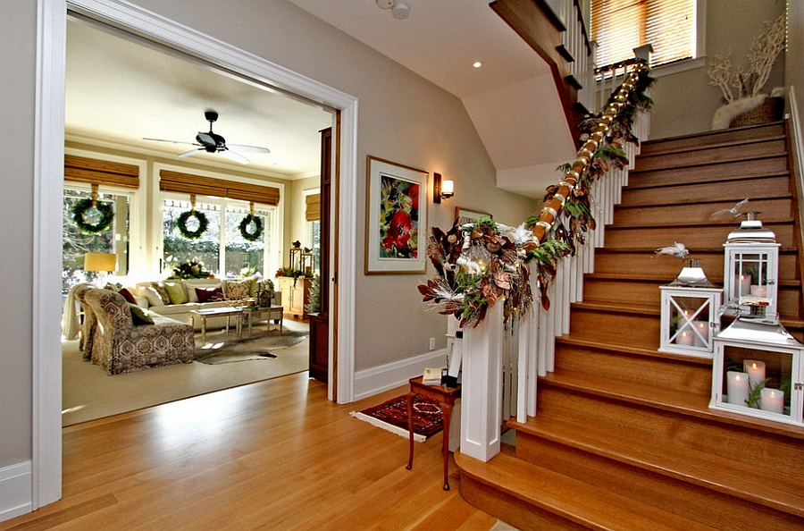 Think of colors beyond red and green for the Christmas staircase garland [Design: Lori Pedersen Home Staging+Styling]
