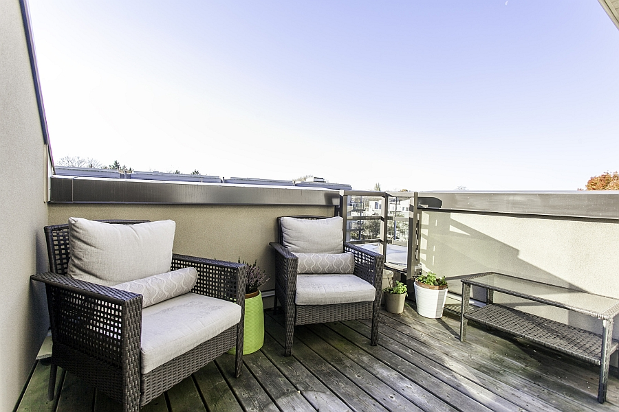 Tiny balcony of the small penthouse apartment in Vancouver