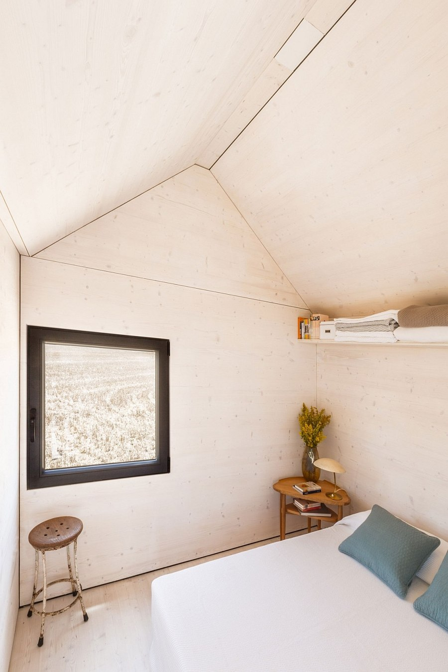 Tiny bedroom of the transportable micro home