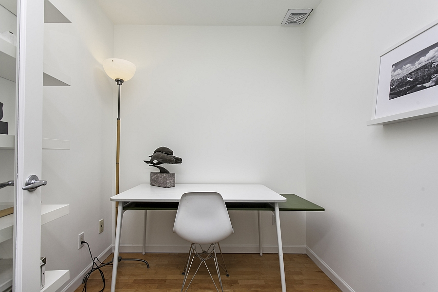 Tiny home office design with smart lighting