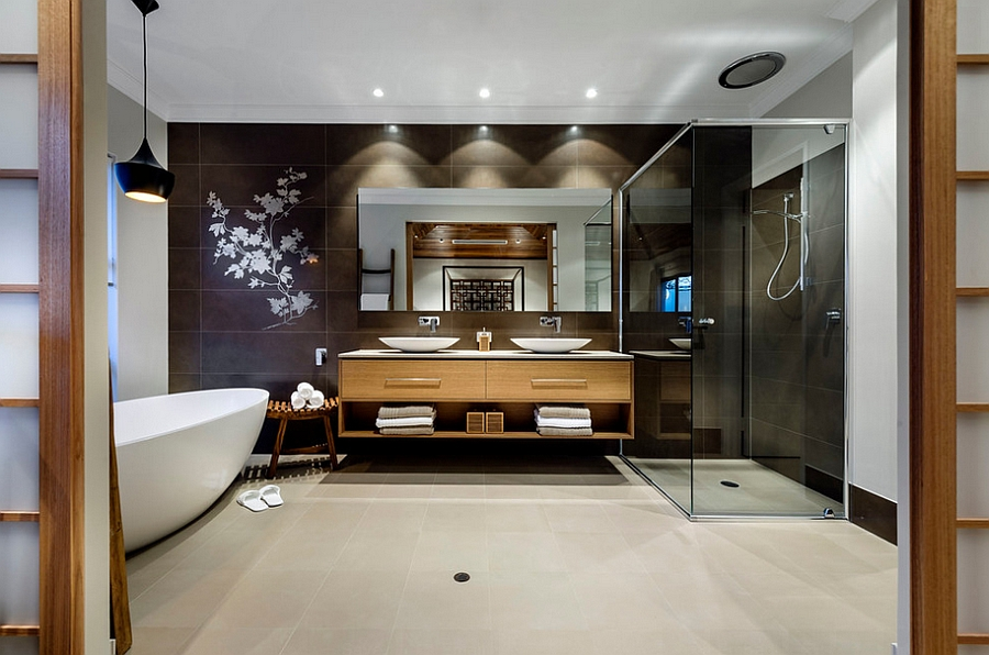 Tom Dixon pendant lighting in the bathroom [Design: Webb & Brown-Neaves]
