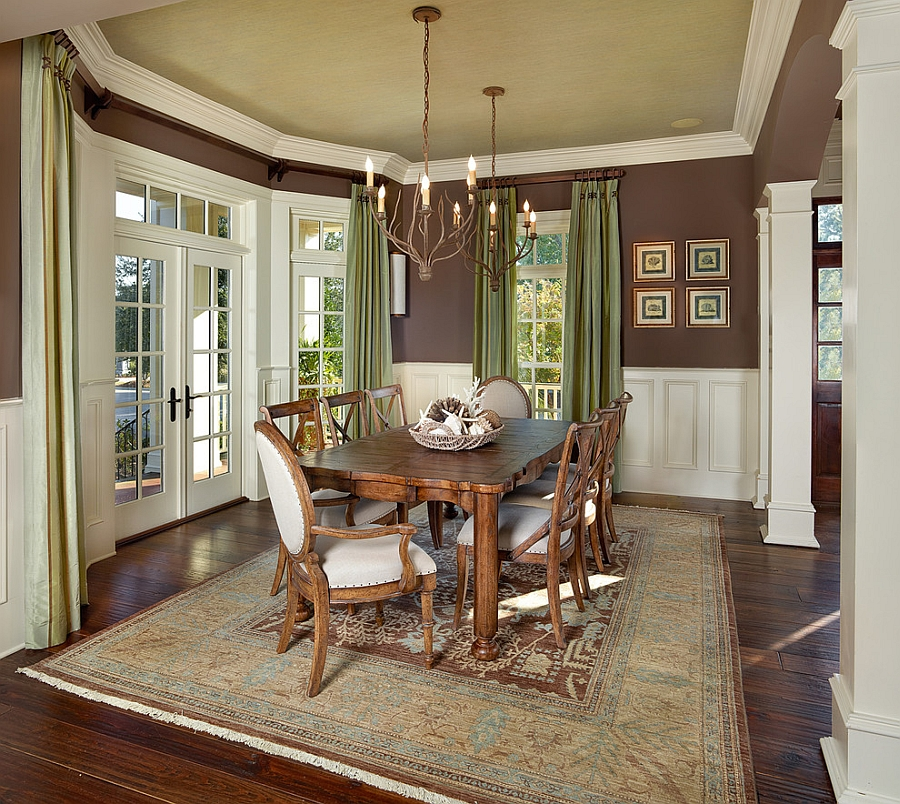 Traditional dining room with green ceiling and drapes