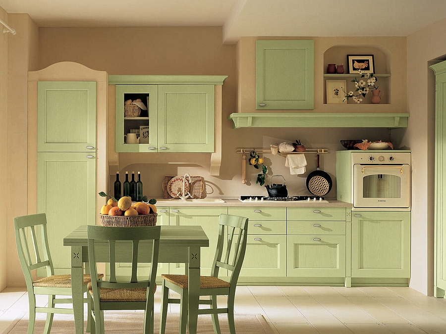 Traditional kitchen in yellow and lime green