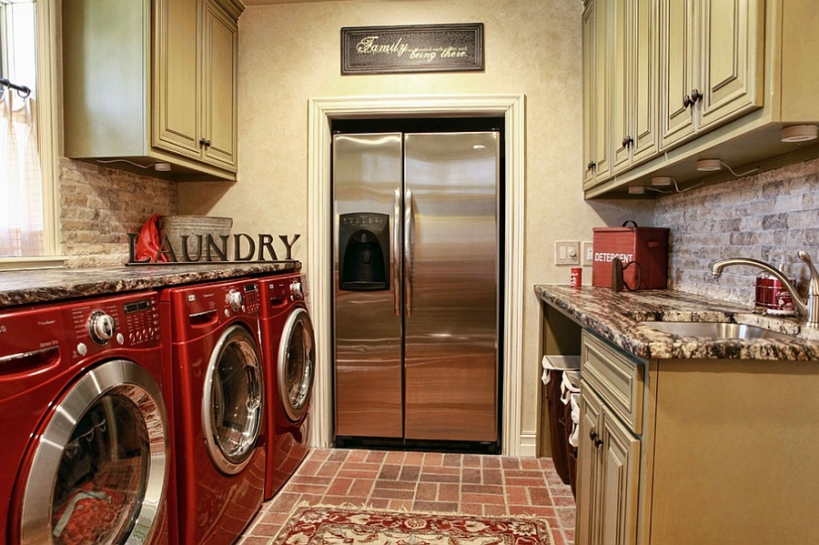 Traditional laundry with a refrigerator [Design: Home Innovations]