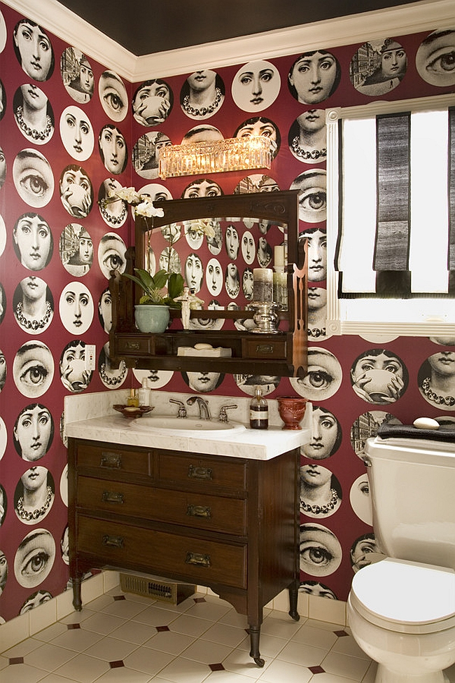 Trendy wallpaper is pretty popular in bathrooms and powder rooms [Design: Get Back JoJo]