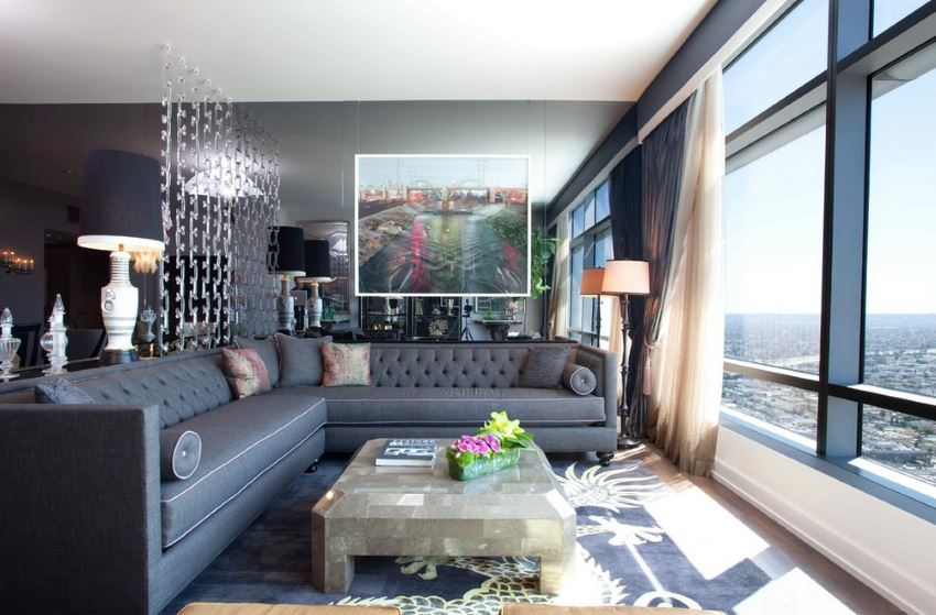 Tufted sectional sofa at the Ritz Carlton Residences