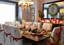 Turn to holiday decorations to add red and green to the dining room 217x155 12 Red and Green Dining Rooms for the Holidays and Beyond