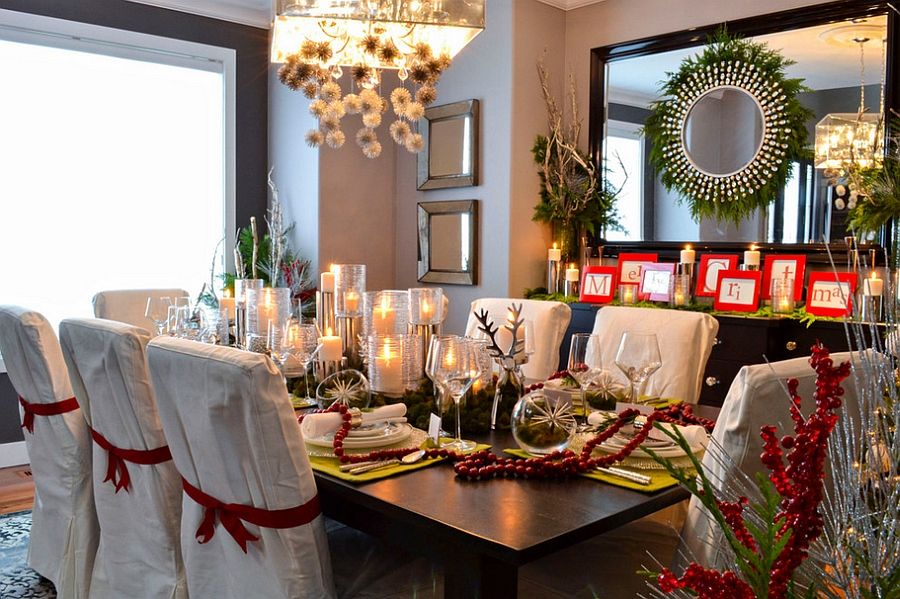 Turn to holiday decorations to add red and green to the dining room