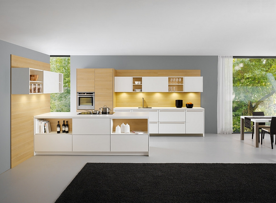 Underlit cabinets define the style of the minimal kitchen