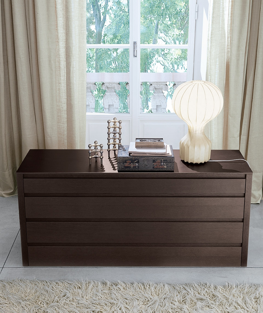 View in gallery Unique table lamp and Alter bedroom storage unit in tobacco  oak. Versatile Bedroom Storage Units That Double as Stylish Nightstands