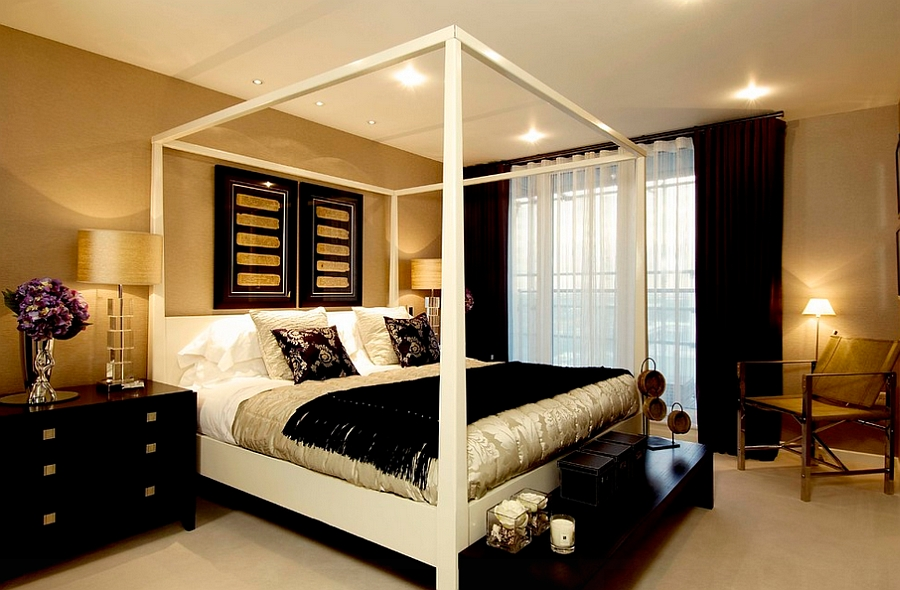 Use golden glint to shape a luxurious bedroom