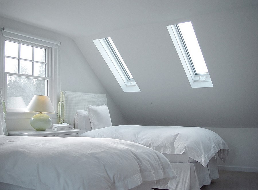 Use skylights to turn the small bedroom into an airy space [Design: Vermont Integrated Architecture]