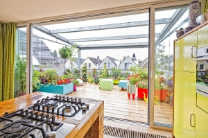 View of the gorgeous rooftop terrace from the kitchen