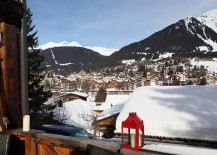 View of the snow-covered Alps from the balcony of Chalet Bear