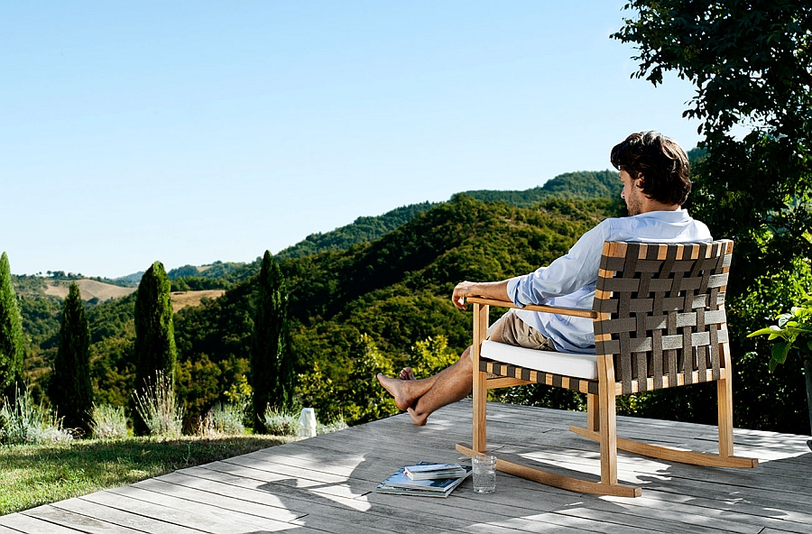 Vis à vis rocking chair for a relaxing outdoor lounge experience