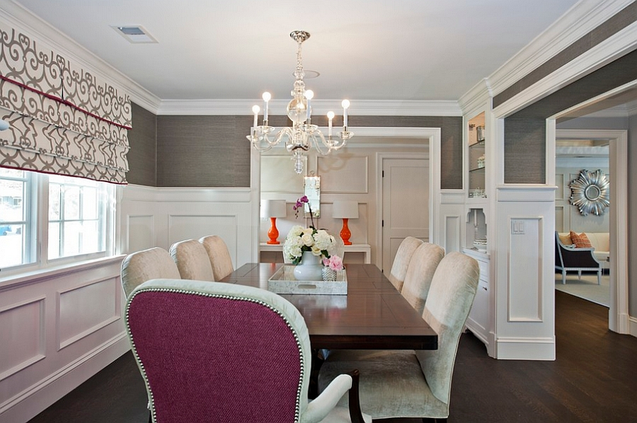 Wall covering in charcoal gray for a cozy dining room [Design: Fiorella Design]