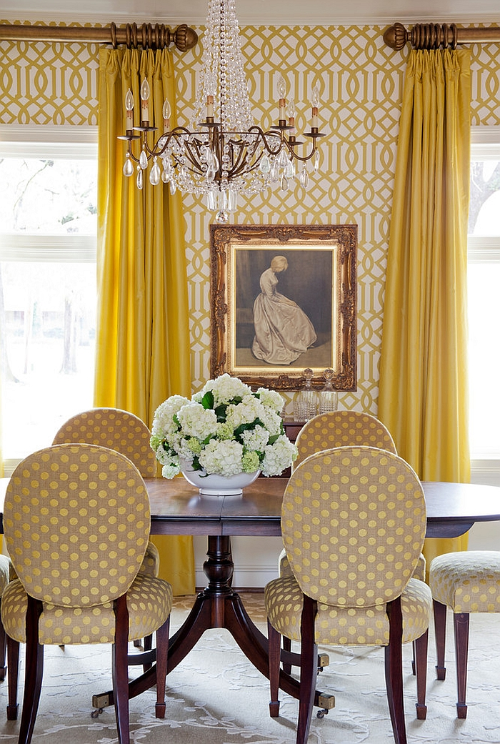 Wallpaper adds both color and pattern to the gorgeous dining room [Design: Tobi Fairley Interior Design]