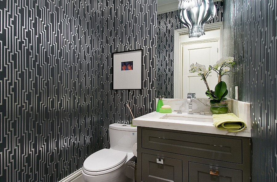 View in gallery Bold wallpaper creates a dazzling little space! [Design:  Rico's General Construction]